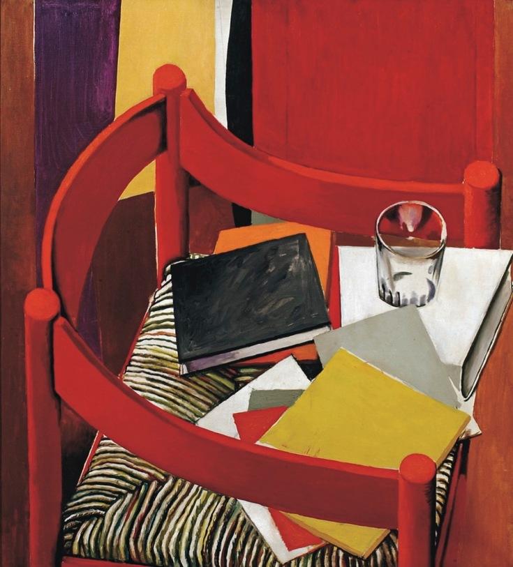 Immagine: Renato Guttuso, Sedia rossa libri e bicchiere, 1968 (Courtesy Galleria Mazzoleni)